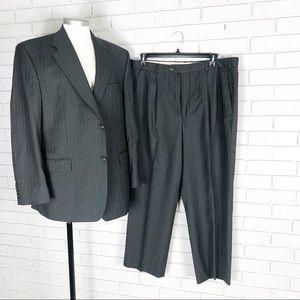 Lauren Ralph Lauren Men's Wool Gray Striped Suit